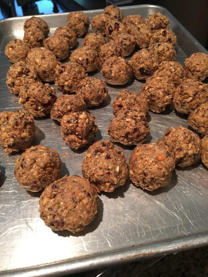 Power Balls -- A blend of oats, honey, peanut butter, craisens, chocolate chips, nuts, flax and chia seeds...for a perfect healthy snack! | suebeehomemaker.com