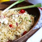 Lemon Orzo Pasta Salad is a perfect warm weather salad. Super delicious and light tasting - with a lemon, honey, and olive oil dressing! | suebeehomemaker.com