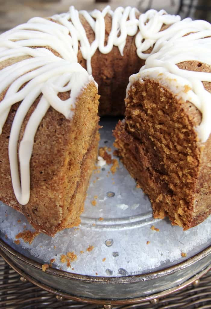 Pumpkin Streusel Cake --a dense pumpkin cake that is perfect for breakfast with a cup of coffee! | suebeehomemaker.com