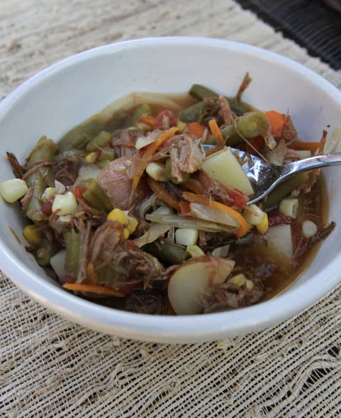 Vegetable Beef Soup -- a warm and comforting soup made from a beef roast and fresh vegetables! | suebeehomemaker.com
