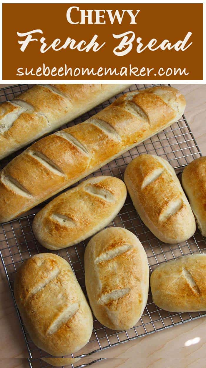Chewy French Bread -- a chewy and versatile bread, great for dipping in soup, as a sandwich, or just eating with a pat of butter! | suebeehomemaker.com | #chewyfrenchbread #frenchbread #bread #easyrecipe #5ingredientbread
