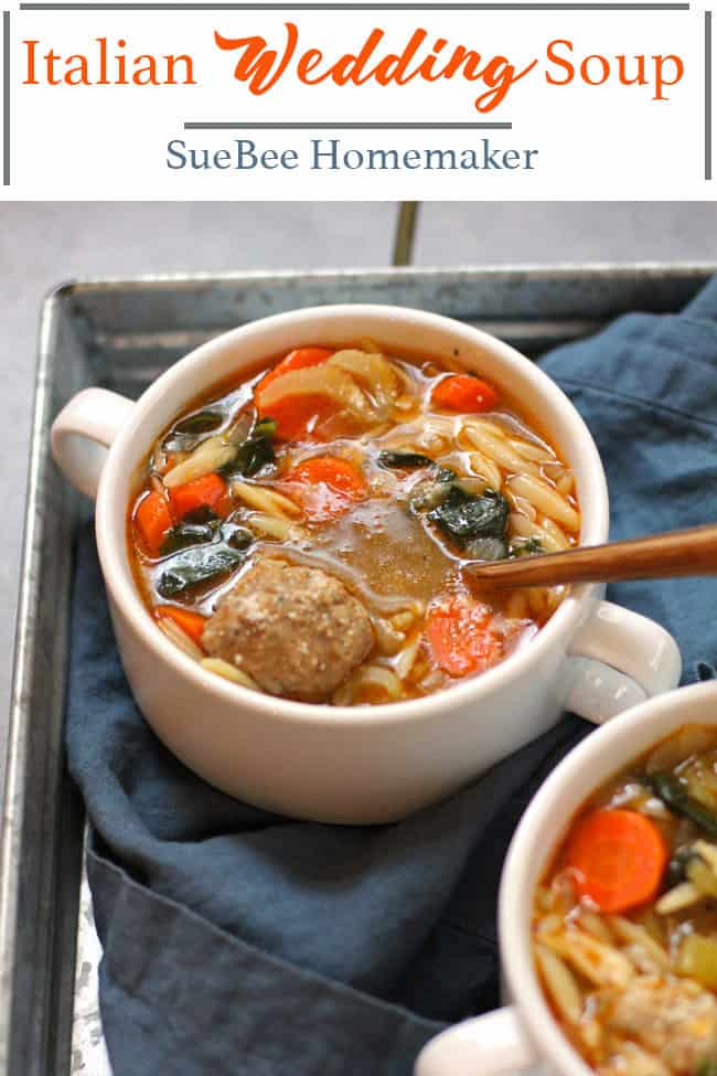 Italian Wedding Soup combines mini meatballs with veggies, orzo pasta, a tasty broth, topped with parmesan cheese! One of my favorite soup recipes EVER. | suebeehomemaker.com | #italianweddingsoup #soup #meatballsoup #orzopasta #easyrecipe