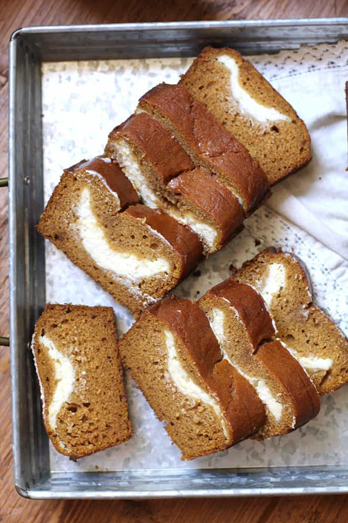 Packed with pumpkin flavors and the sweetest cream cheese surprise in the middle, you'll say YES to pumpkin every time with this Pumpkin Cream Cheese Bread!   suebeehomemaker.com