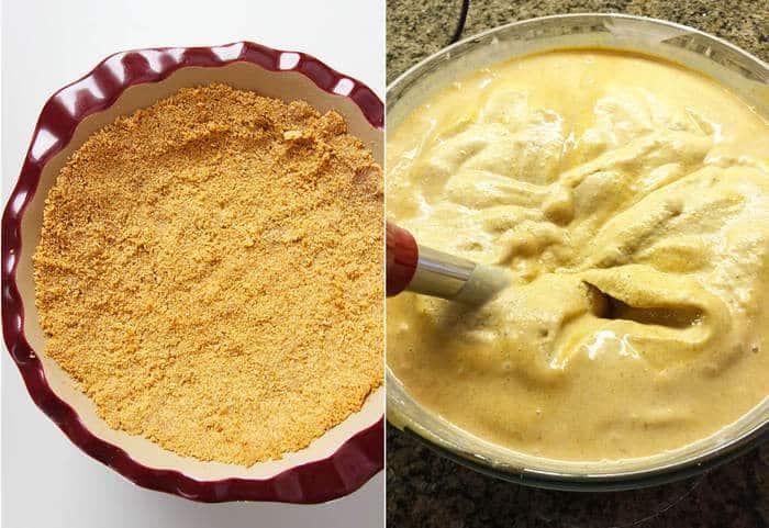 Pumpkin Ice-Cream Dessert Pie -- a delicious pumpkin spiced ice-cream delight in a graham cracker crust! | suebeehomemaker.com