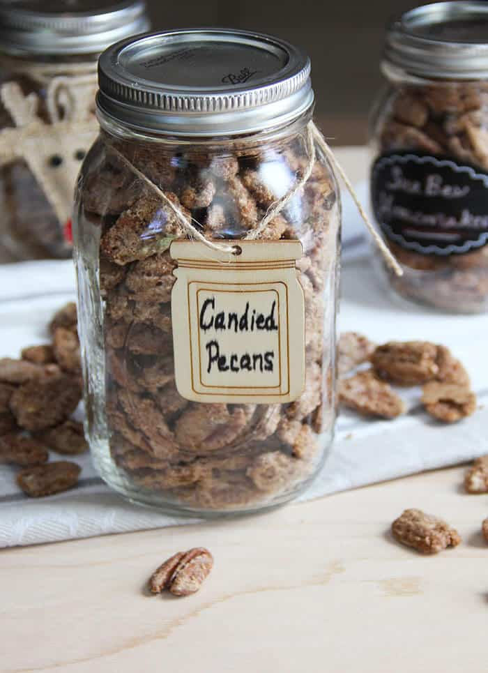 Cinnamon Sugar Candied Pecans -- pecans with a delicious candy coating, giving the nuts extra crunch and flavor! | suebeehomemaker.com