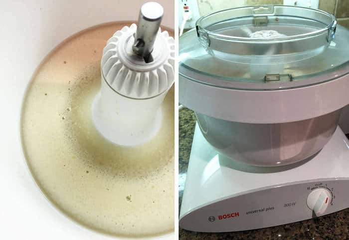 Process shots of 1) the yeast mixture in a white bowl mixer, and 2) the Bosch Universal Mixer on my counter top.