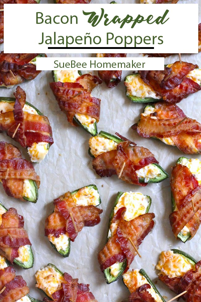 Bacon Wrapped Jalapeño Poppers are the perfect game day or party appetizer. Quick and easy, these poppers combine deseeded jalapeños, a creamy filling, and pre-cooked bacon. Leave a few seeds for a spicy kick! | suebeehomemaker.com | #jalapenopoppers #baconwrappedjalapenos #jalapenos #spicy #gameday