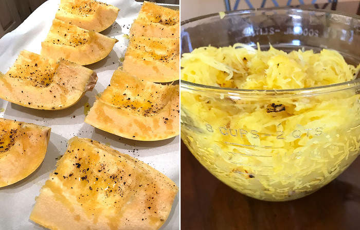 Spaghetti Squash and Cheese -- a healthier version of mac-n-cheese, made with spaghetti squash, and peas and bacon! | suebeehomemaker.com
