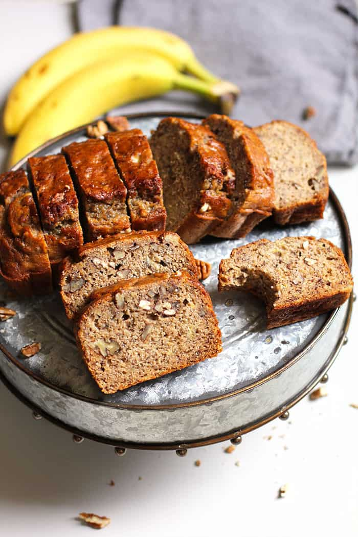 Banana Nut Bread -- a lightened-up wholesome banana nut bread, moist and so delicious! | suebeehomemaker.com