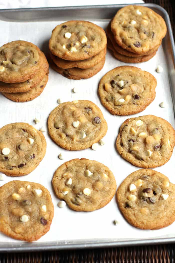 Chocolate Chip Cookies by Norma Jean -- a delicious chocolate chip cookie with white chips and a big hit of good vanilla! | suebeehomemaker.com