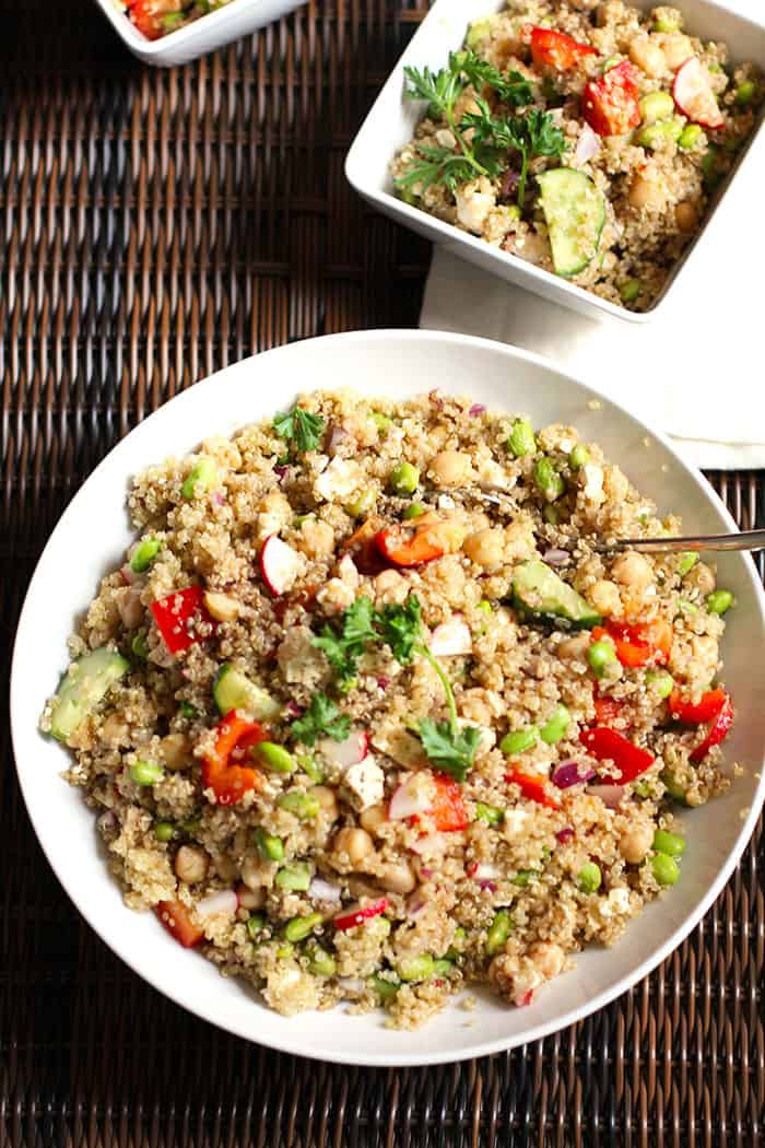 Loaded Veggie Quinoa Salad -- a protein packed quinoa salad, with chick peas, feta cheese, edamame, and tons of veggies! | suebeehomemaker.com