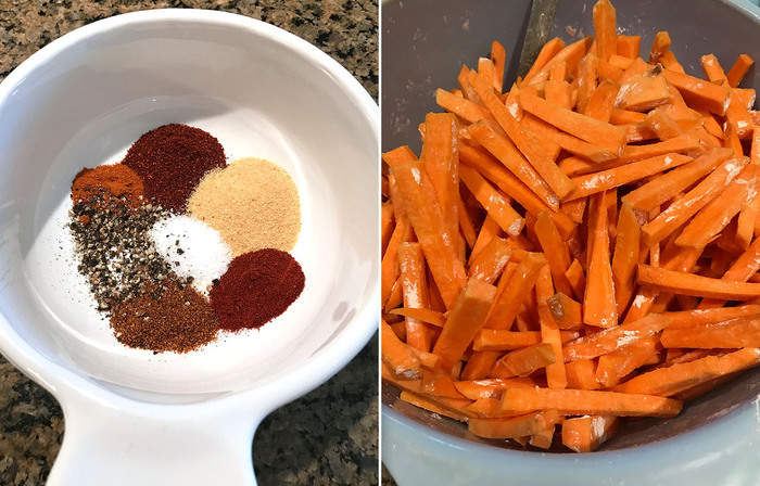 Spicy Baked Sweet Potato Fries -- crispy, spicy fries baked to perfection and healthy too! | suebeehomemaker.com