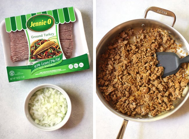 Overhead process shots of 1) ground turkey, and onions, and 2) cooked ground turkey in a saucepan.