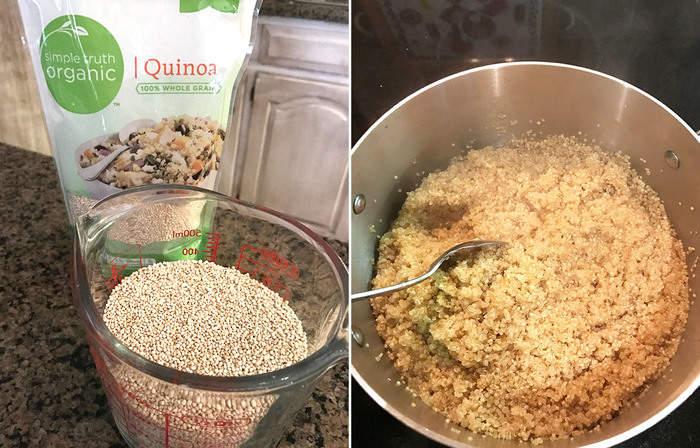 Collage of raw quinoa and cooked quinoa.
