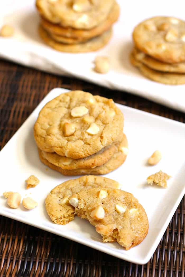 White Chocolate Macadamia Nut Cookies -- a buttery, salty, and sweet cookie all in one - full of the wonderful Hawaiian macadamia nut and plenty of white chocolate chips! | suebeehomemaker.com