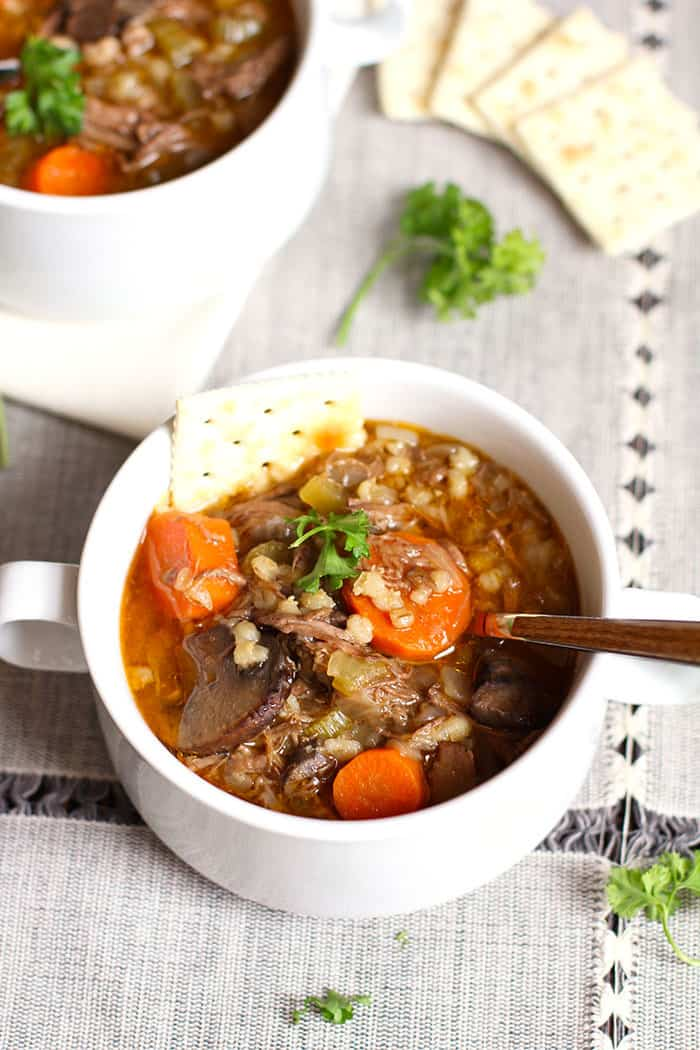Beef Barley Vegetable Soup -- a hearty and healthy soup full of shredded beef, vegetables, and barley - perfect for cold nights! | suebeehomemaker.com