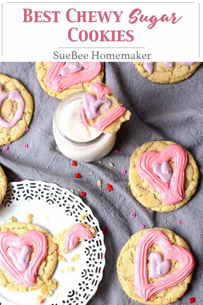 Best Chewy Sugar Cookies -- a delicious sugar cookie that includes both brown and white sugars, and is delightfully chewy!   suebeehomemaker   #chewysugarcookies #sugarcookies #holidaytreats #dessert