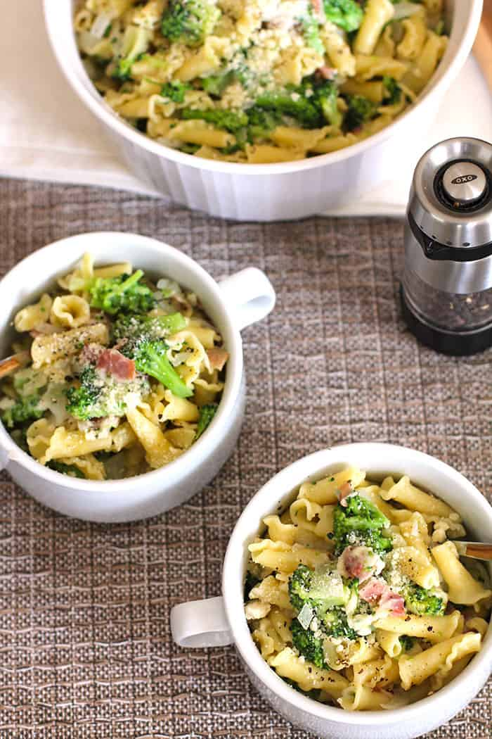 Broccoli Pasta with Bacon -- an easy, one-pot pasta, with Campanelle noodles, broccoli, bacon, and parmesan cheese! | suebeehomemaker.com