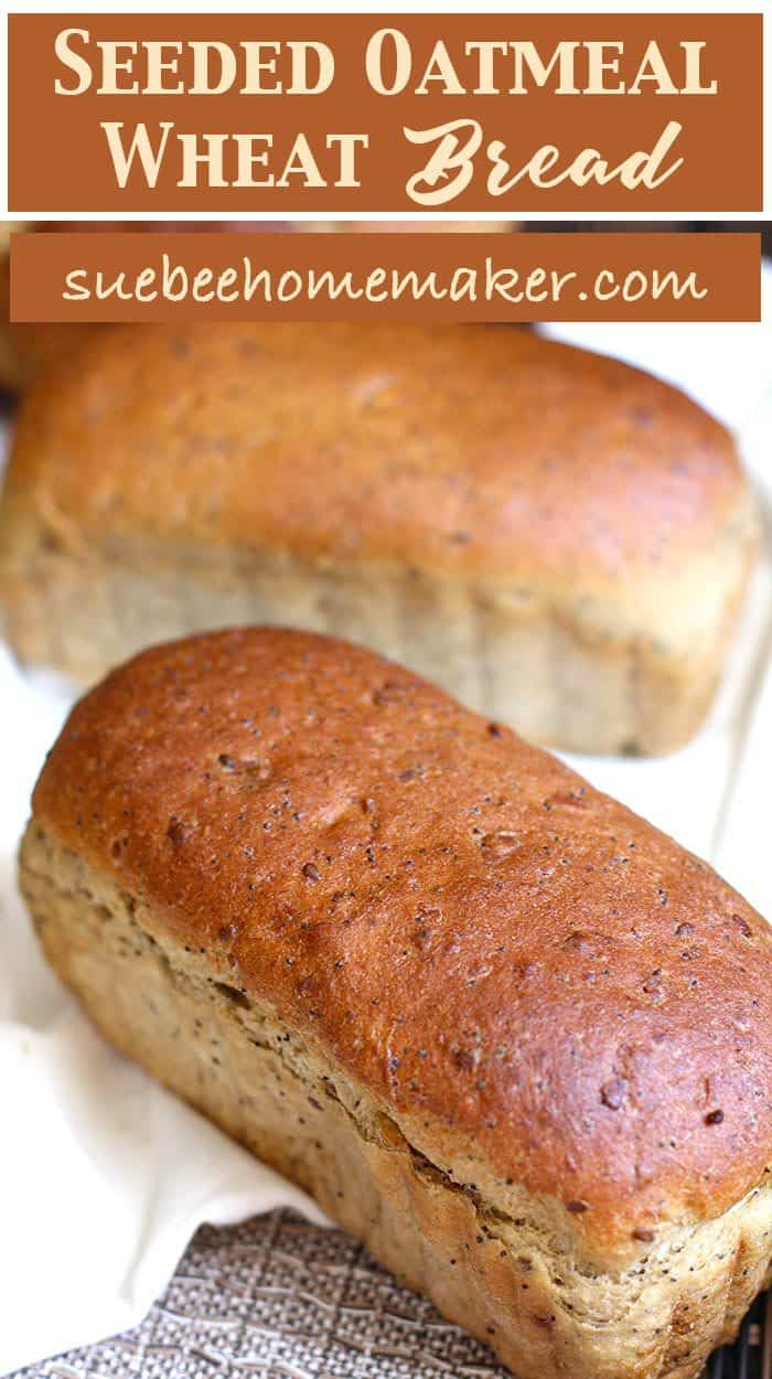 Seeded Oatmeal Wheat Bread -- a hearty, nutty tasting bread, made with oatmeal, honey, white whole wheat flour, and plenty of seeds! | suebeehomemaker.com | #homemadebread #oatmealbread #seeds #wheatbread