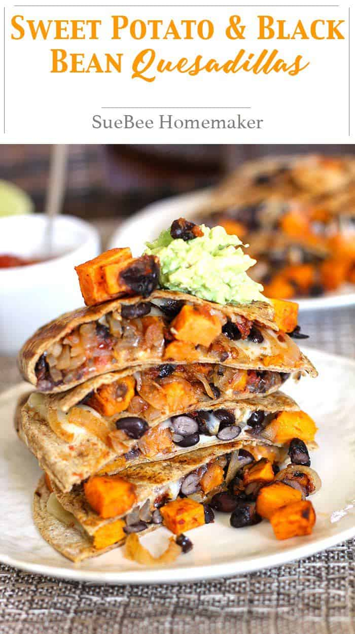 Sweet Potato and Black Bean Quesadillas -- a meatless quesadilla, full of sweet potatoes, black beans, onions, and a spicy kick - topped with guacamole and salsa! | suebeehomemaker.com | #sweetpotatoes #blackbeans #quesadillas #texmex #mexicanfood #meatlessmeal