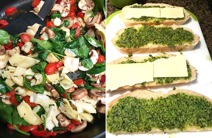 Roasted Vegetable Pesto Panini -- a delicious sandwich, full of healthy roasted vegetables along with a spreading of pesto topped with monterey jack cheese!   suebeehomemaker.com