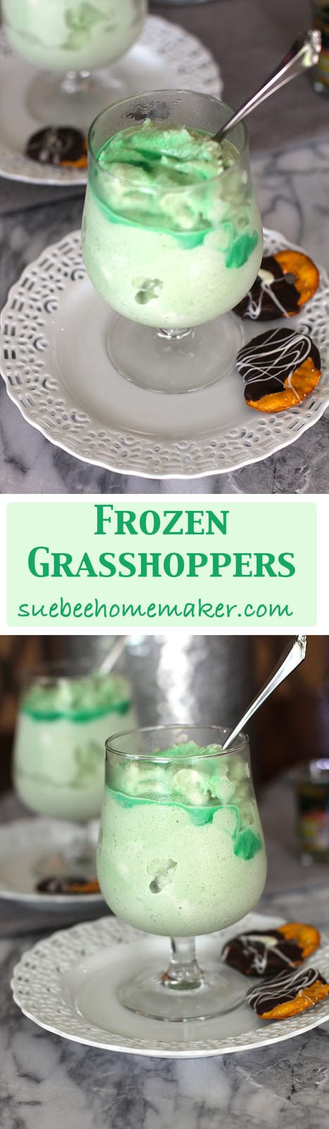 Frozen Grasshoppers -- a creamy dessert cocktail, made with ice cream, ice cubes, creme de menthe and creme de cocoa! A family favorite! | suebeehomemaker.com