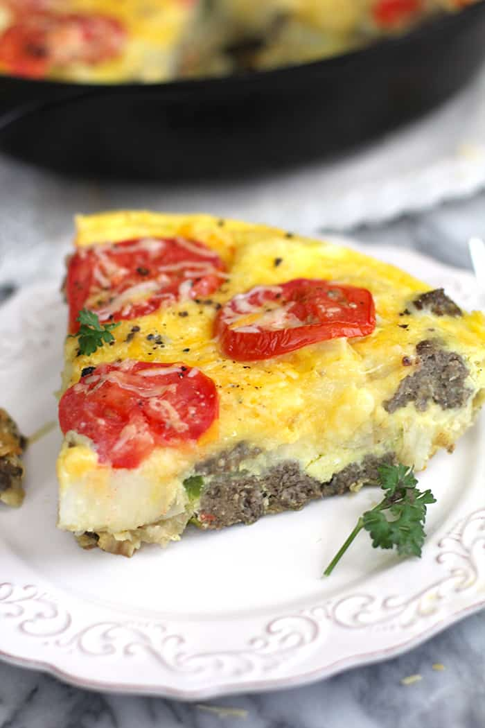 Sausage Potato Breakfast Frittata is a comforting, hearty, one-pot dish. Full of veggies, potatoes, and eggs - perfect for any time of day! | suebeehomemaker.com