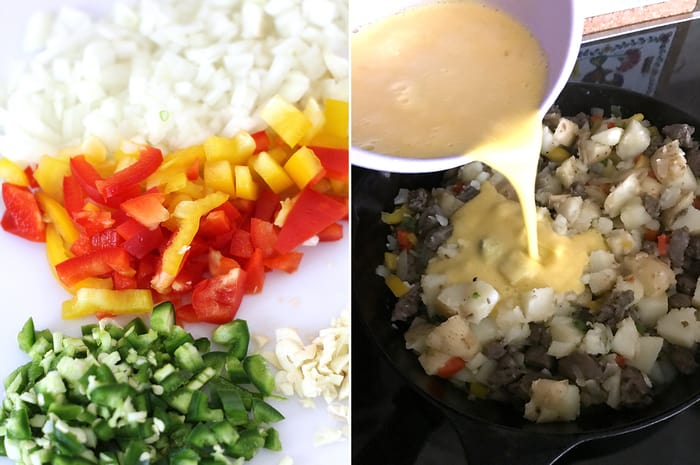 Collage of 1) the chopped veggies, and 2) the egg mixture being poured into the pan.