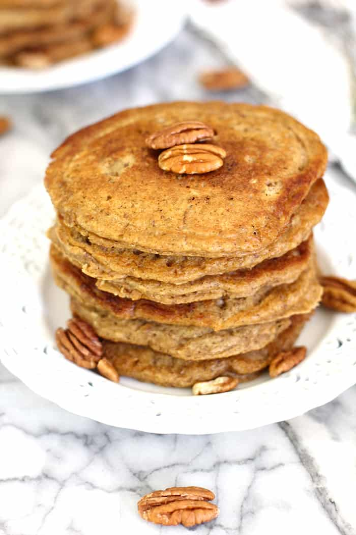 Maple Nut Wheat Pancakes - A nutty oat pancake with a big maple flavor and white whole-wheat make this pancake one of the best ever! | suebeehomemaker.com