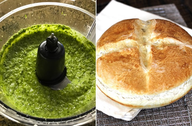 Overhead process shots of 1) the pesto sauce in a food processor, and 2) the French bread in round form.