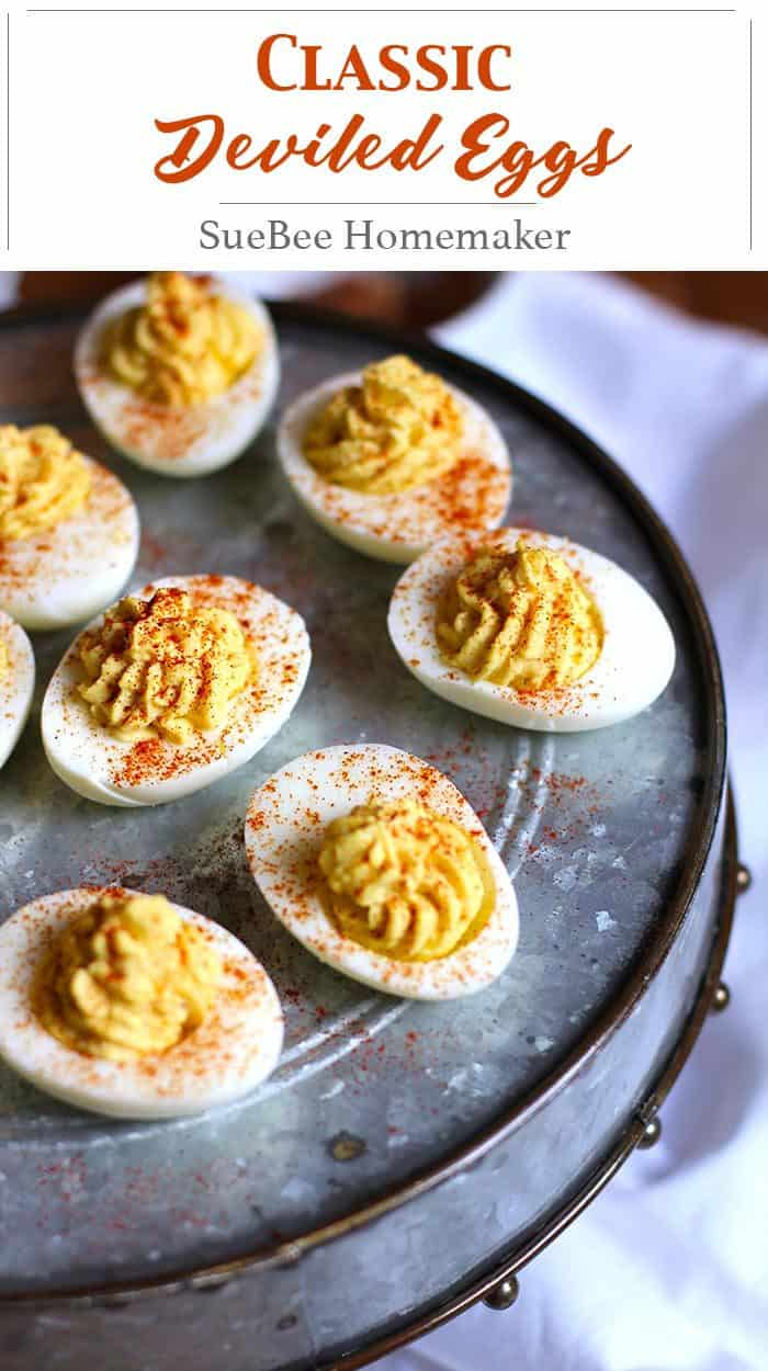Classic Deviled Eggs are made with just a few simple ingredients. A quick and hard-to-resist appetizer that's a hit at parties and family gatherings! | suebeehomemaker.com | #classicdeviledeggs #deviledeggs #eggs #appetizer
