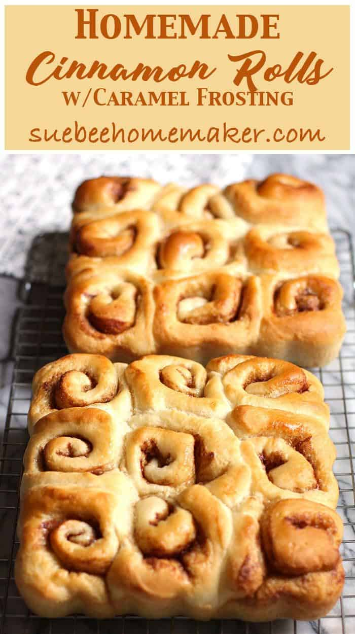 These homemade Cinnamon Rolls combine the softest dough with a sugar, cinnamon, and butter mixture, and are topped with a caramel frosting! | suebeehomemaker.com | #homemadecinnamonrolls #cinnamonrolls #rolls #caramelfrosting