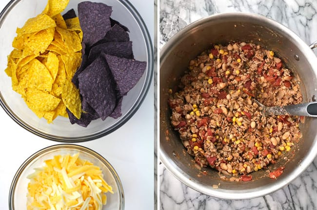 Overhead shots of 1) chips and cheese in bowls, and 2) the beef and bean mixture.