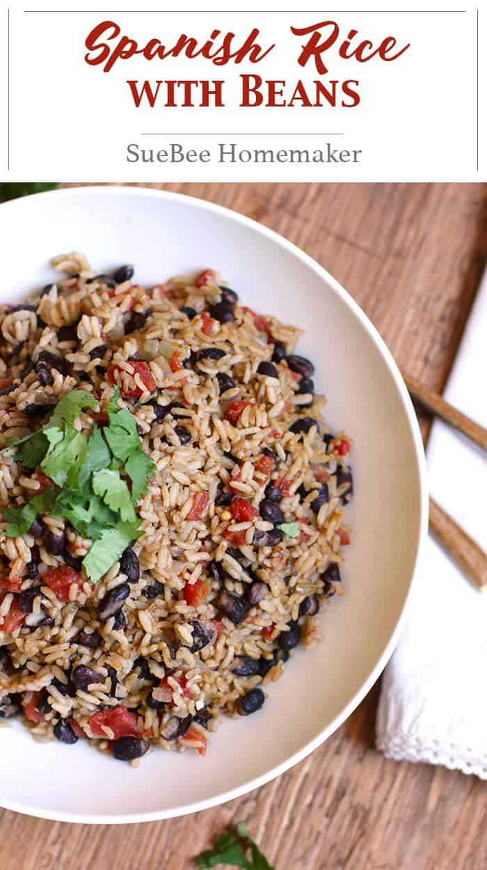 Spanish Rice with Beans is the perfect side dish for any Mexican Fiesta, or for a simple chicken dinner. The HOT Rotel adds a spicy kick, but not overpowering! | suebeehomemaker.com | #spanishrice #riceandbeans #rice #texmex