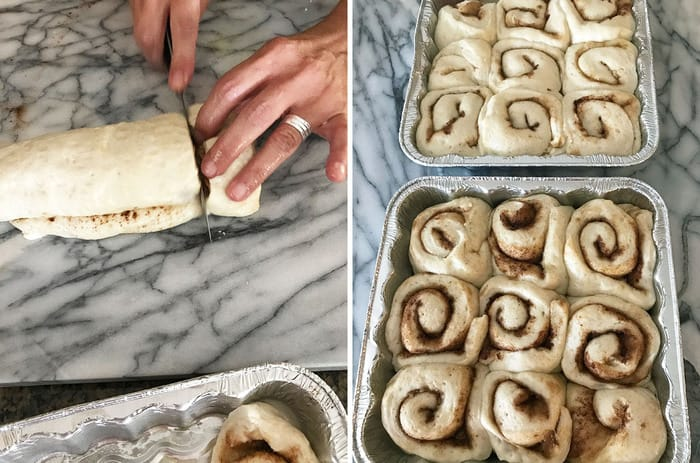 These homemade Cinnamon Rolls combine the softest dough with a sugar, cinnamon, and butter mixture, and are topped with a caramel frosting! | suebeehomemaker.com