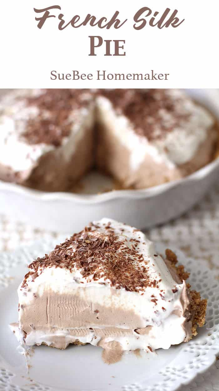 French Silk Pie is creamy and chocolatey, with a graham cracker crust base, a chocolate filling, topped with whipping cream and shaved chocolate! | suebeehomemaker.com | #frenchsilkpie #frenchsilk #pie #chocolatepie #chocolate