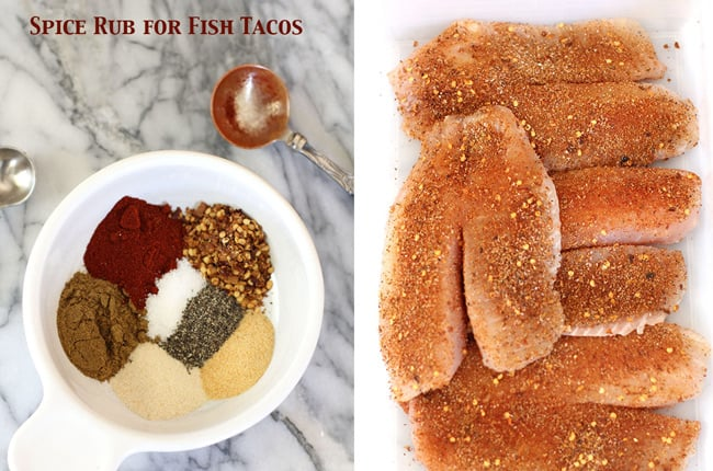 Collage of 1) the spice rub for the fish tacos, and 2) the raw tilapia covered with spice rub.