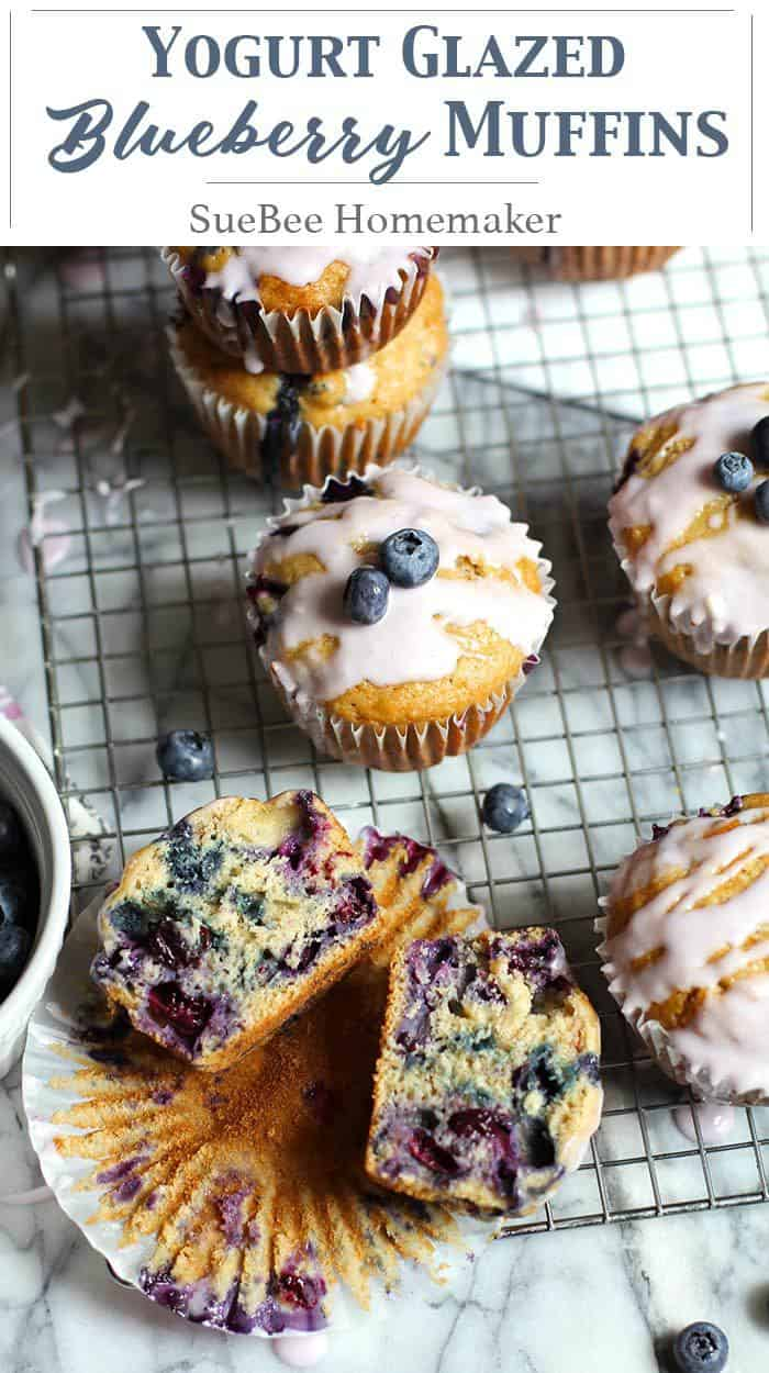 Yogurt Glazed Blueberry Muffins boast two cups of fresh blueberries, along with a sweet glaze made with real blueberry yogurt! | suebeehomemaker | #blueberrymuffins #yogurtglazed #muffins #blueberries #fruit