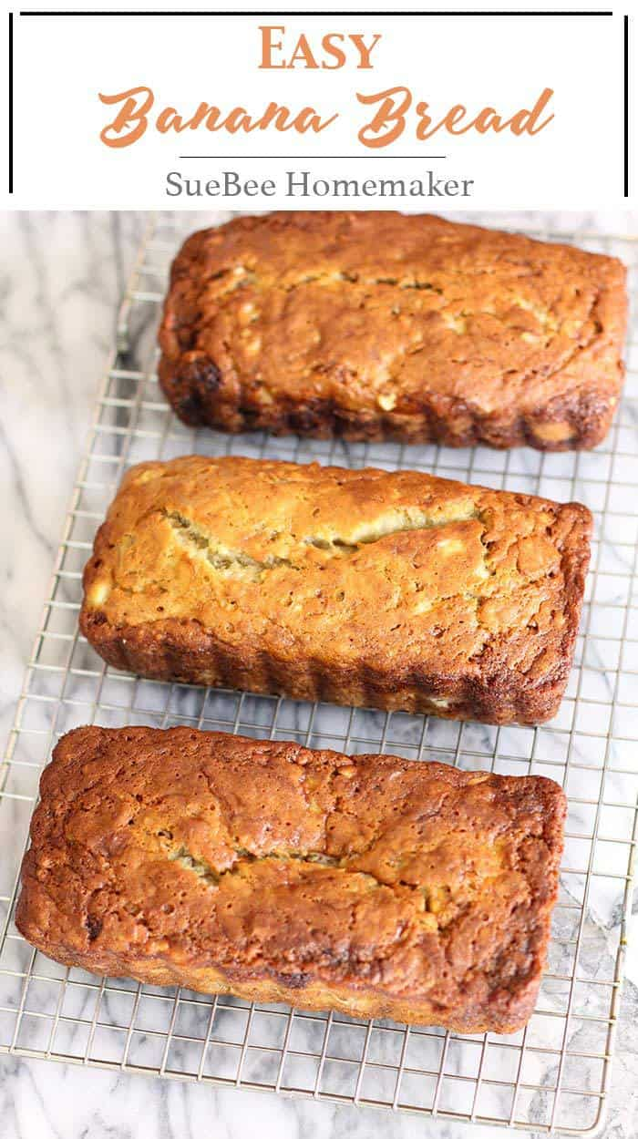 Norma Jean's Easy Banana Bread is a classic recipe. Six WHOLE pureed bananas and canola oil make this super moist and delicious EVERY time! | suebeehomemaker.com | #easybananabread #bananabread #bread #quickbread