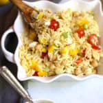 Lemon Orzo Pasta Salad is a perfect warm weather salad. Super delicious and light tasting - with a lemon, honey, and olive oil dressing! | suebeehomemaker