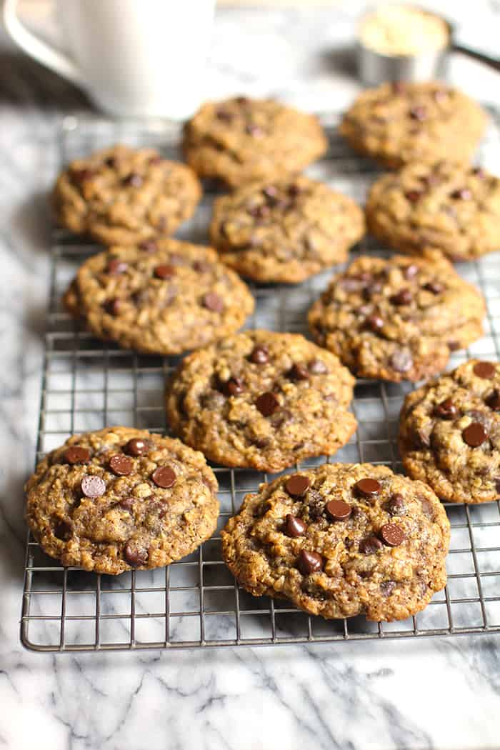 Oatmeal Chocolate Chip Cookies are the perfect thick and chewy cookies. Loaded with oatmeal and chocolate chips, you will definitely want more than one!   suebeehomemaker.com