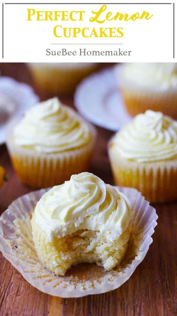 Perfect Lemon Cupcakes are incredibly moist and bursting with freshly squeezed lemon juice and zest. The buttercream frosting has even MORE lemons! | suebeehomemaker.com | #lemoncupcakes #cupcakes #lemon #perfectcupcakes #dessert