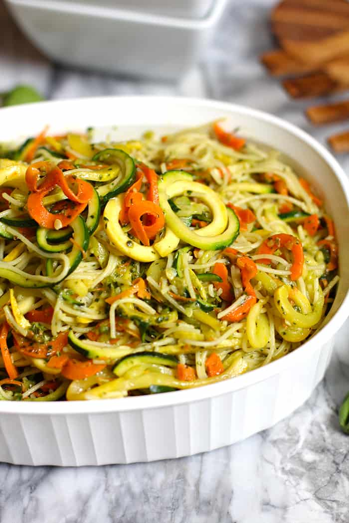 Pesto Vegetable Pasta combines angel hair pasta with spiralized vegetables, and is topped with my homemade pesto sauce. A healthy pasta recipe! | suebeehomemaker.com