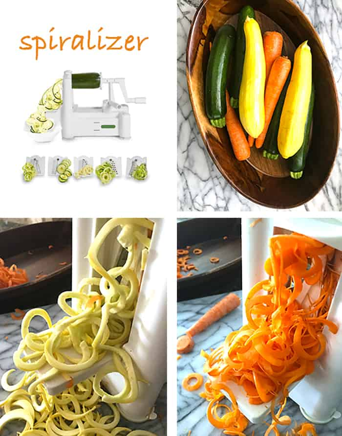 Process shots of 1) a picture of a sprilizer, 2) pictures of carrots, zucchini, and squash in a wooden bowl, 3) close-up of squash coming out of spiralizer, and 4) close-up of carrots being spiralized.