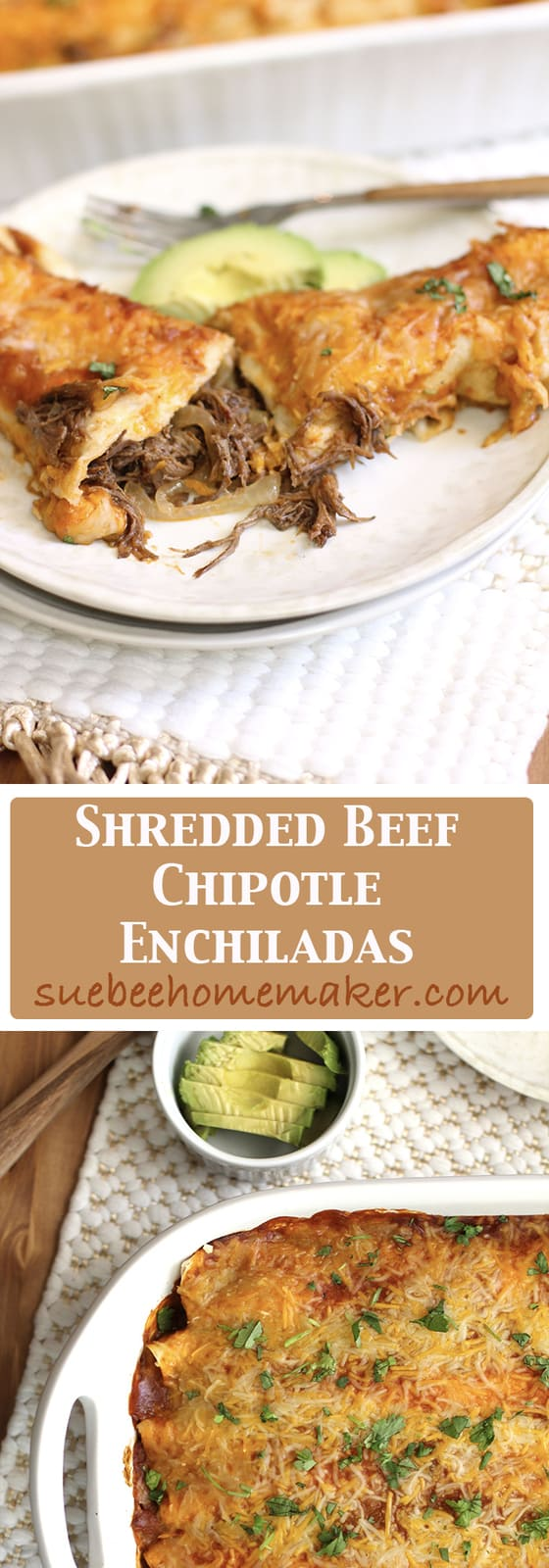Shredded Beef Chipotle Enchiladas combine tender shredded beef in tortillas, topped with an amazing homemade enchilada sauce and shredded Mexican Cheese! | suebeehomemaker.com