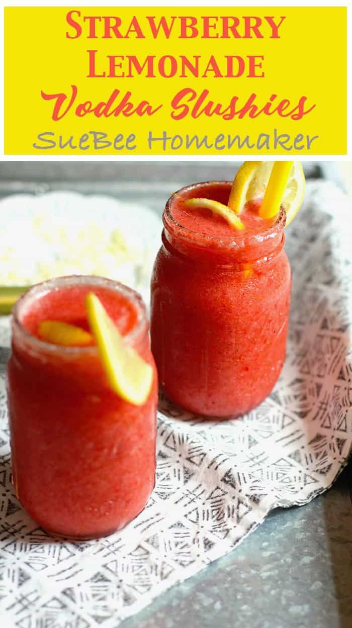 Fresh strawberries and lemons, combined with vodka, ice, and a little bit of sugar make these Strawberry Lemonade Vodka Slushies the hit of the party! | suebeehomemaker.com | #strawberrylemonade #vodkaslushies #slushies #cocktails #frozendrinks #happyhour