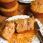 Strawberry Rhubarb Wheat Muffins