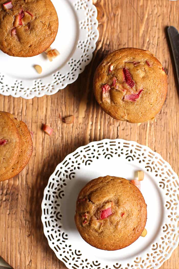 Using white whole-wheat flour and a cup of both fresh strawberries and rhubarb, these Strawberry Rhubarb Wheat Muffins are incredibly moist!   suebeehomemaker.com