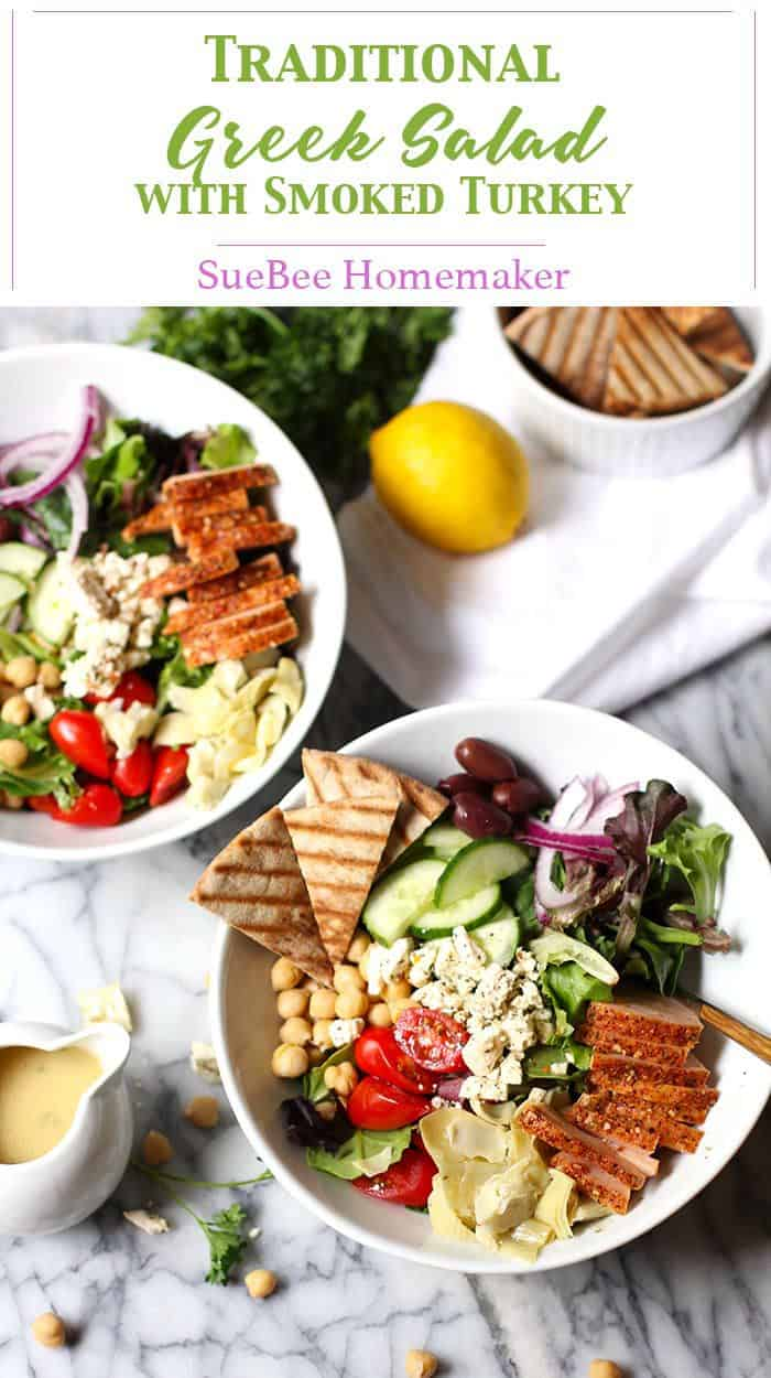 Loaded with fresh vegetables, chick peas, artichoke hearts, feta cheese, and Jennie-O Turkey Breast, this Traditional Greek Salad is a complete meal! | suebeehomemaker.com | #greeksalad #smokedturkey #greensalad #salads