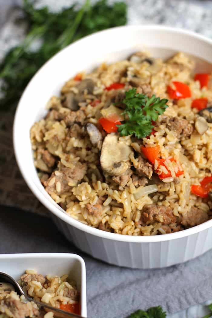 Turkey Sausage Brown Rice is a lean and filling dish, combining Jennie-O lean HOT turkey sausage, brown rice, and a hefty amount of veggies! | suebeehomemaker.com